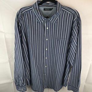 Nautica XXL 2XL Blue Stripes Button Down Shirt